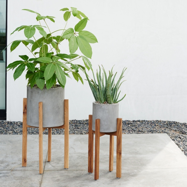 Modern Wood Leg Planter - Cylinder £89