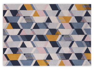 Ava Large Geometric Hand Tufted Wool Rug 160 x 230cm, Tonal Blue £299