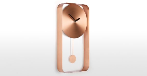 Bard Pendulum Wall Clock, Brushed Copper