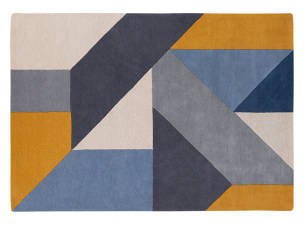Holden Large Geometric Hand Tufted Wool Rug 160 x 230cm, Tonal Blue £299