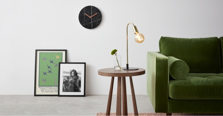 Black marble and copper clock
