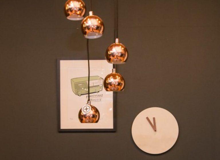 Copper pendants and clock