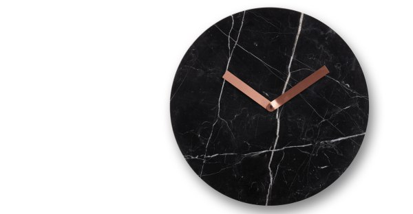 Cullen - black marble and copper clock